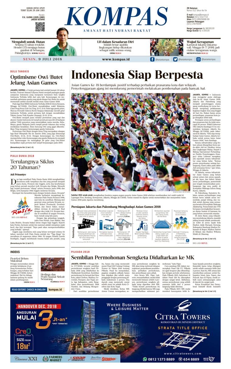 Koran Digital KOMPAS 09 Juli 2018