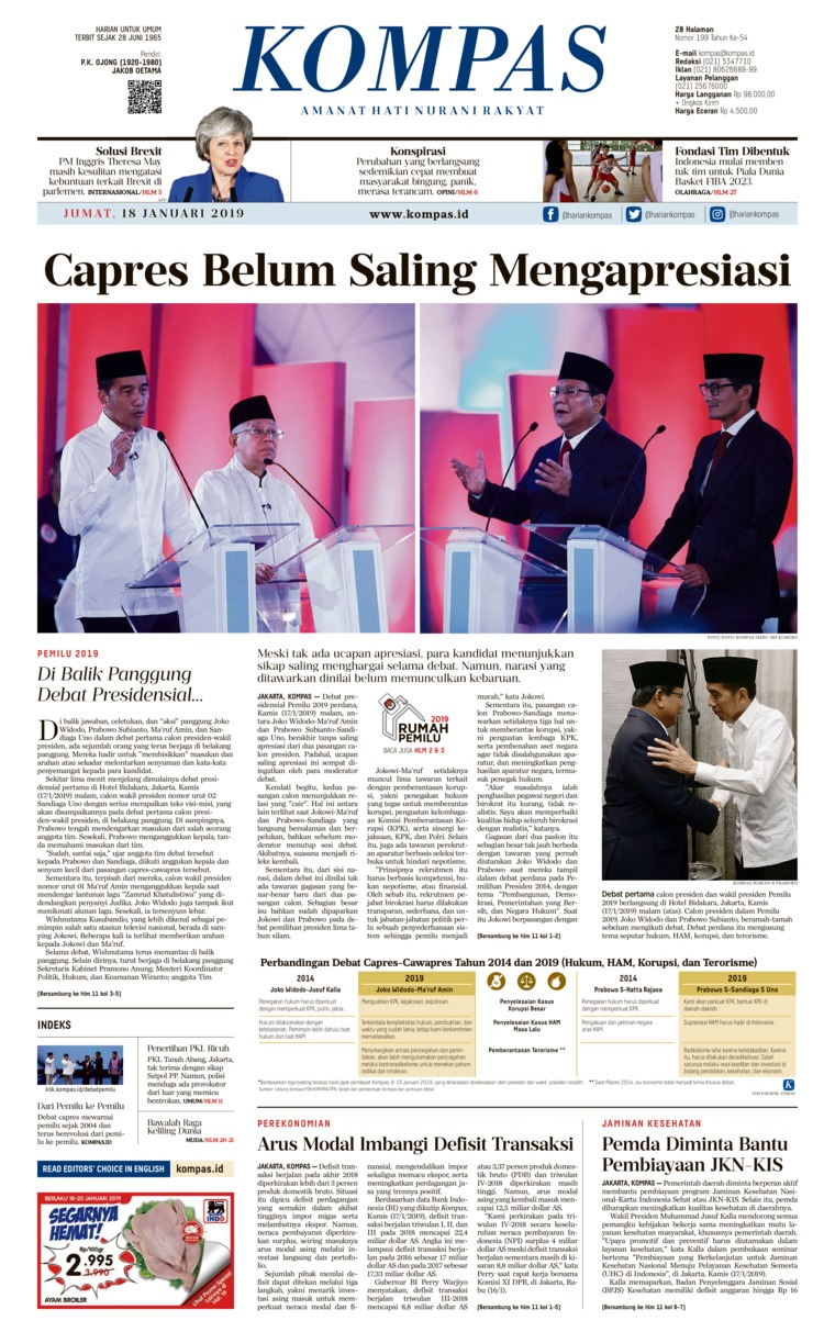 KOMPAS Digital Newspaper 18 January 2019