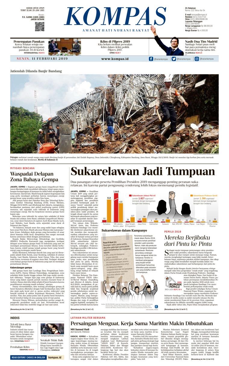Koran Digital KOMPAS 11 Februari 2019