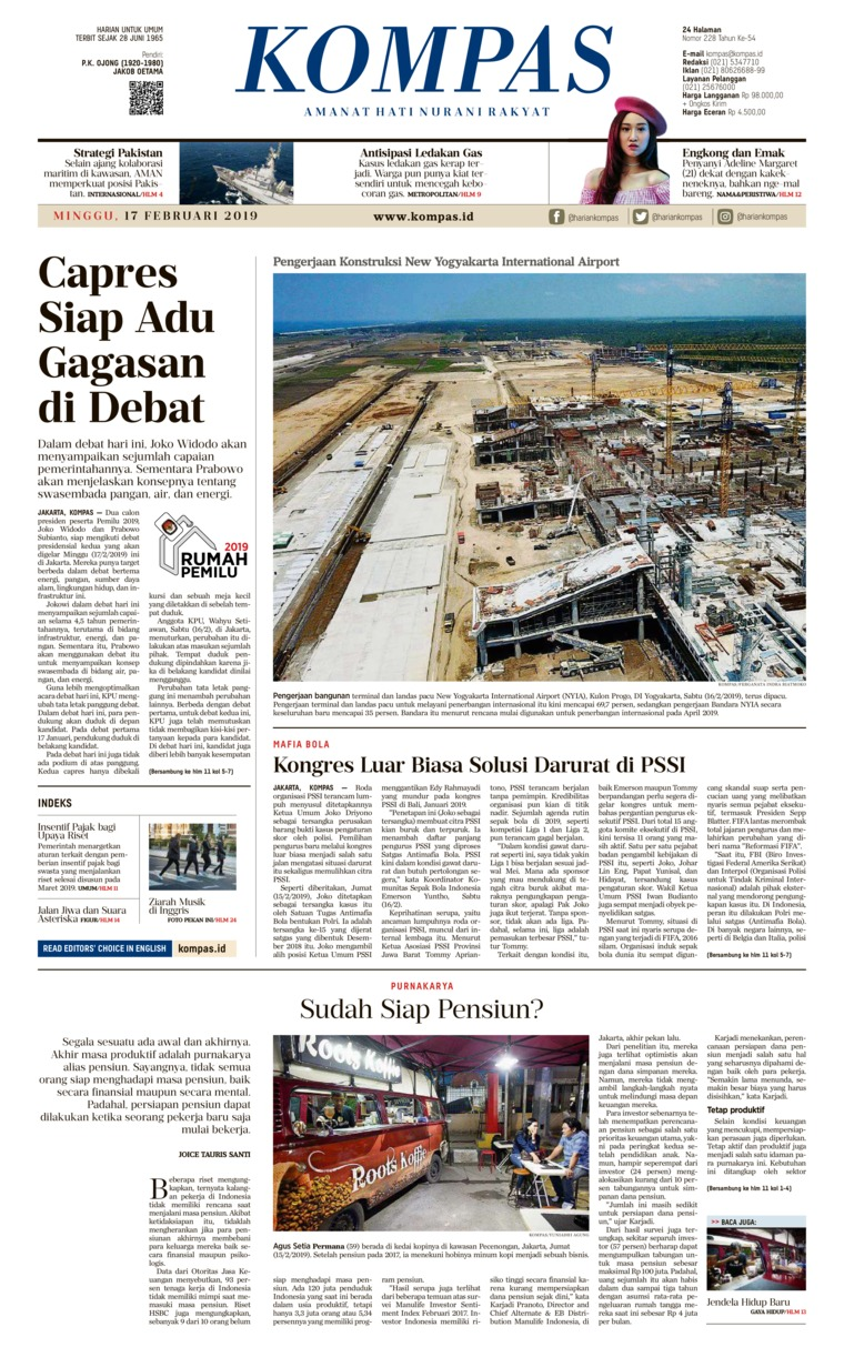 KOMPAS Digital Newspaper 17 February 2019