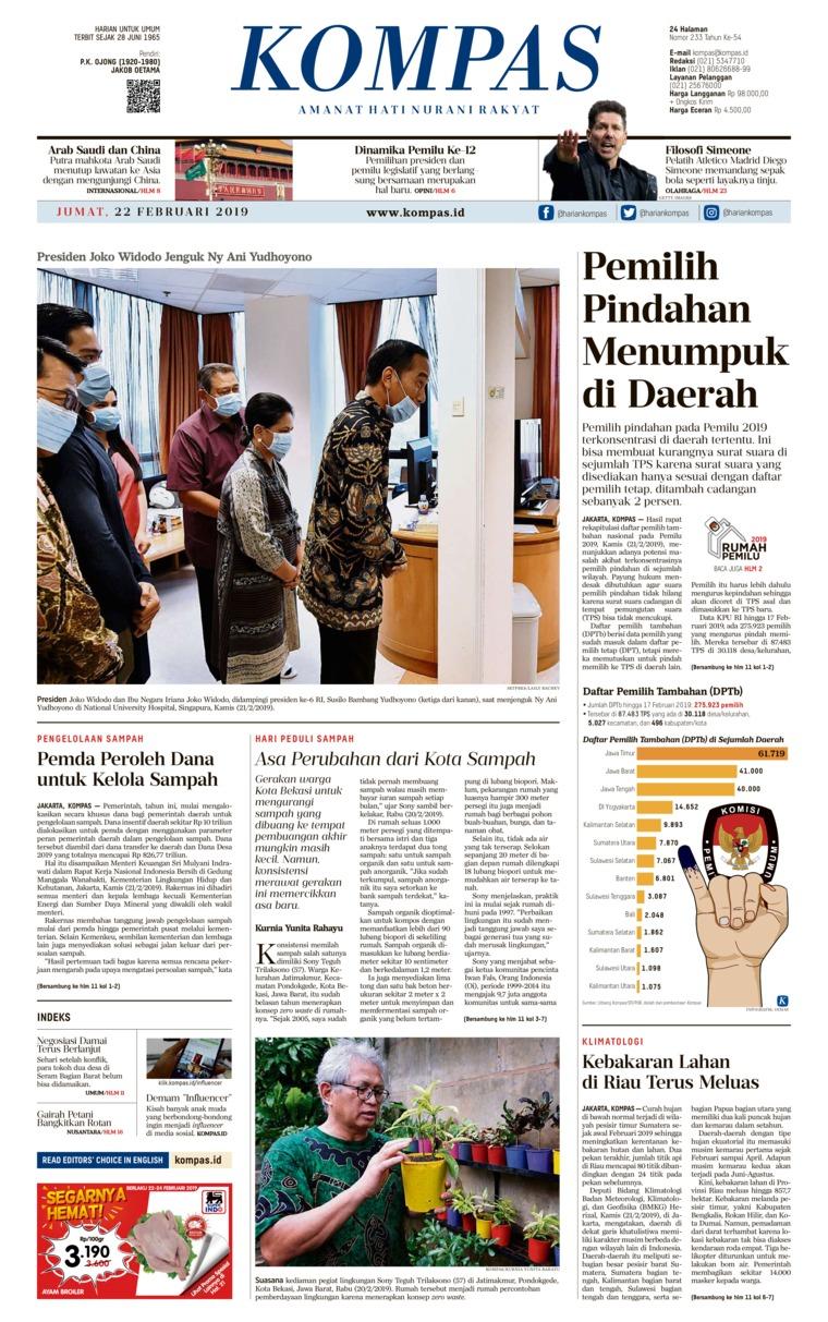 KOMPAS Digital Newspaper 22 February 2019