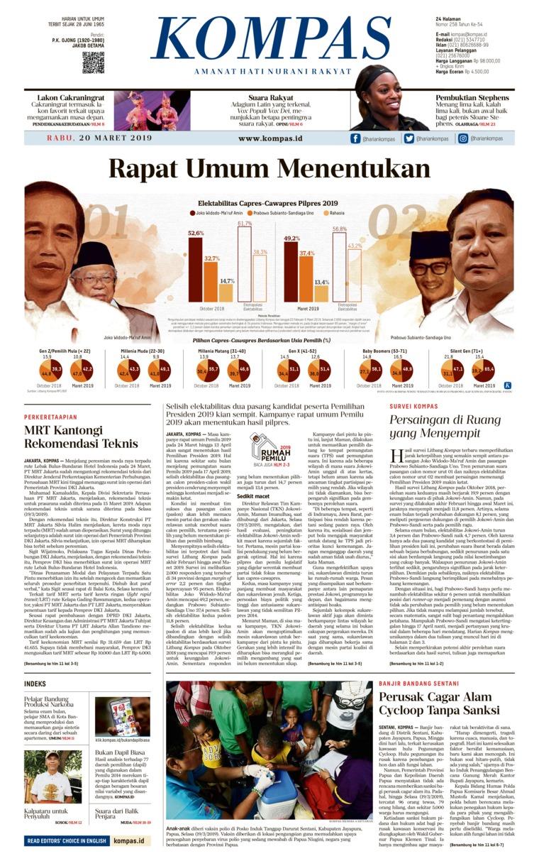 KOMPAS Digital Newspaper 20 March 2019