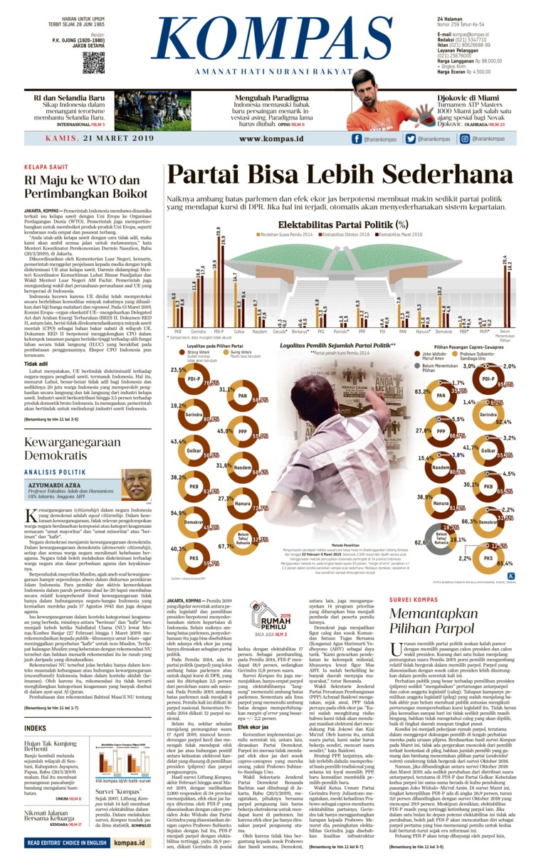 KOMPAS Digital Newspaper 21 March 2019