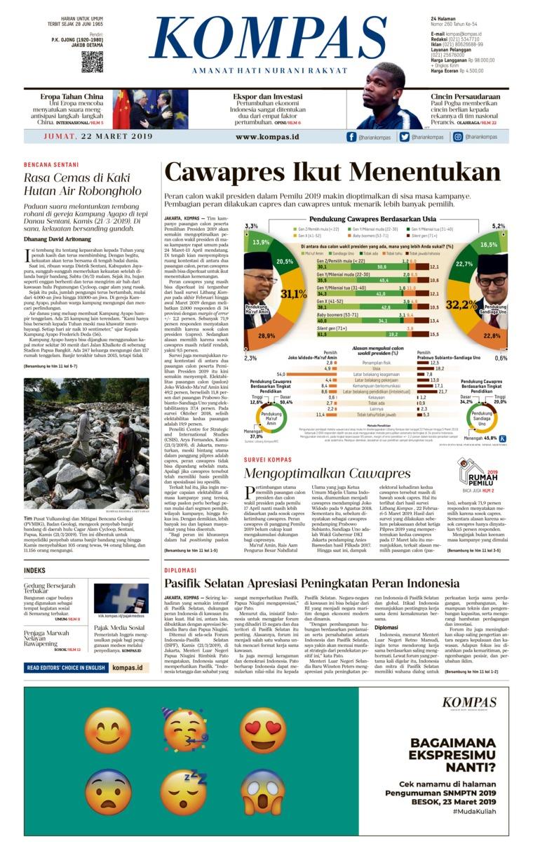 KOMPAS Digital Newspaper 22 March 2019