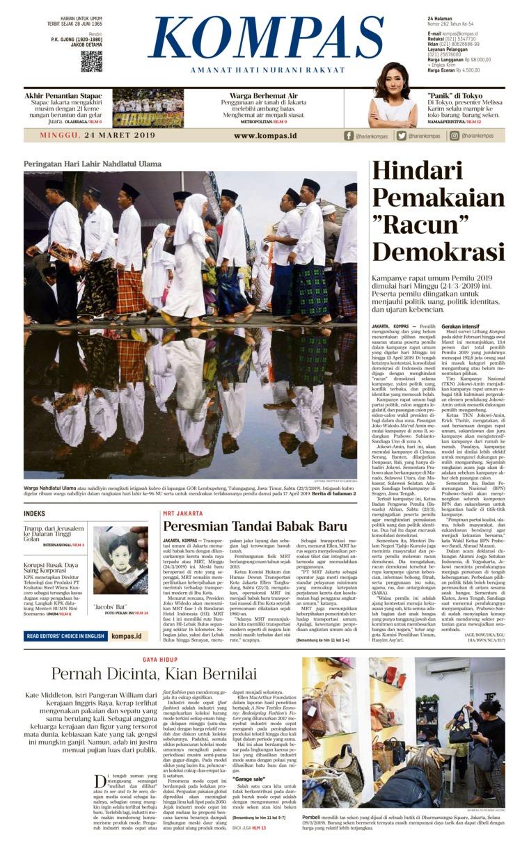KOMPAS Digital Newspaper 24 March 2019