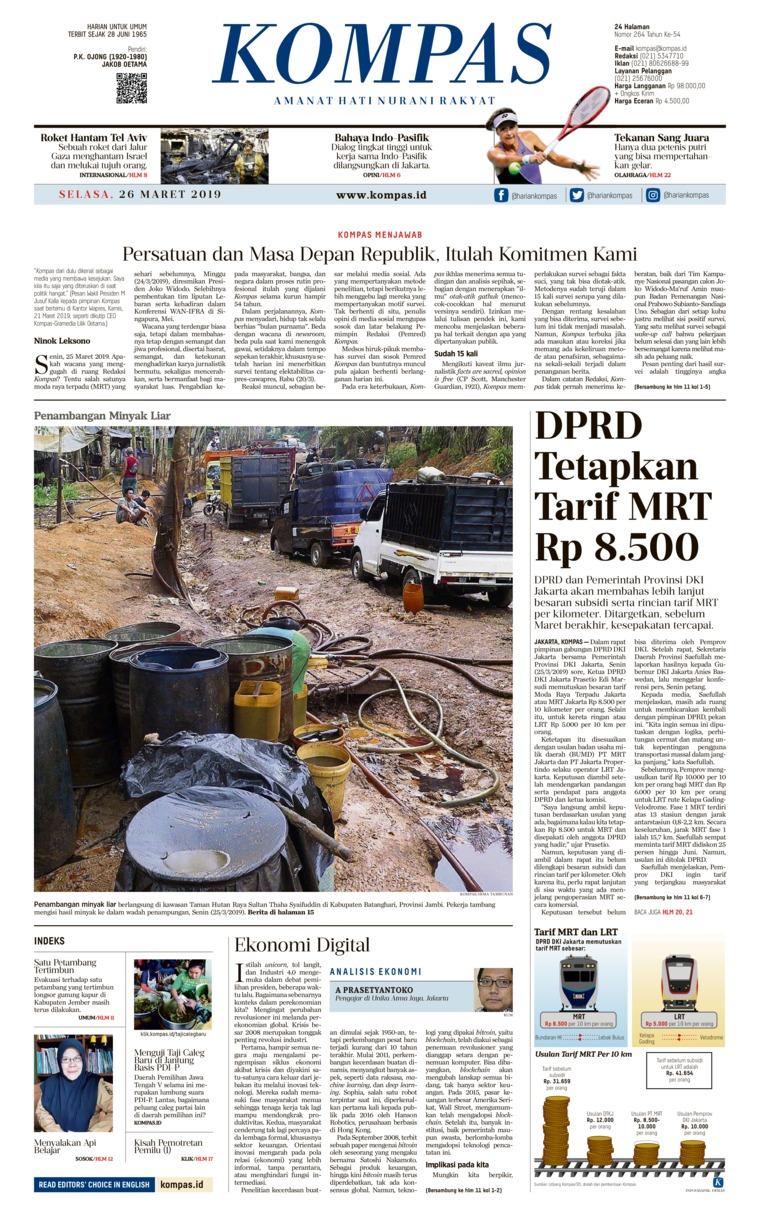 KOMPAS Digital Newspaper 26 March 2019