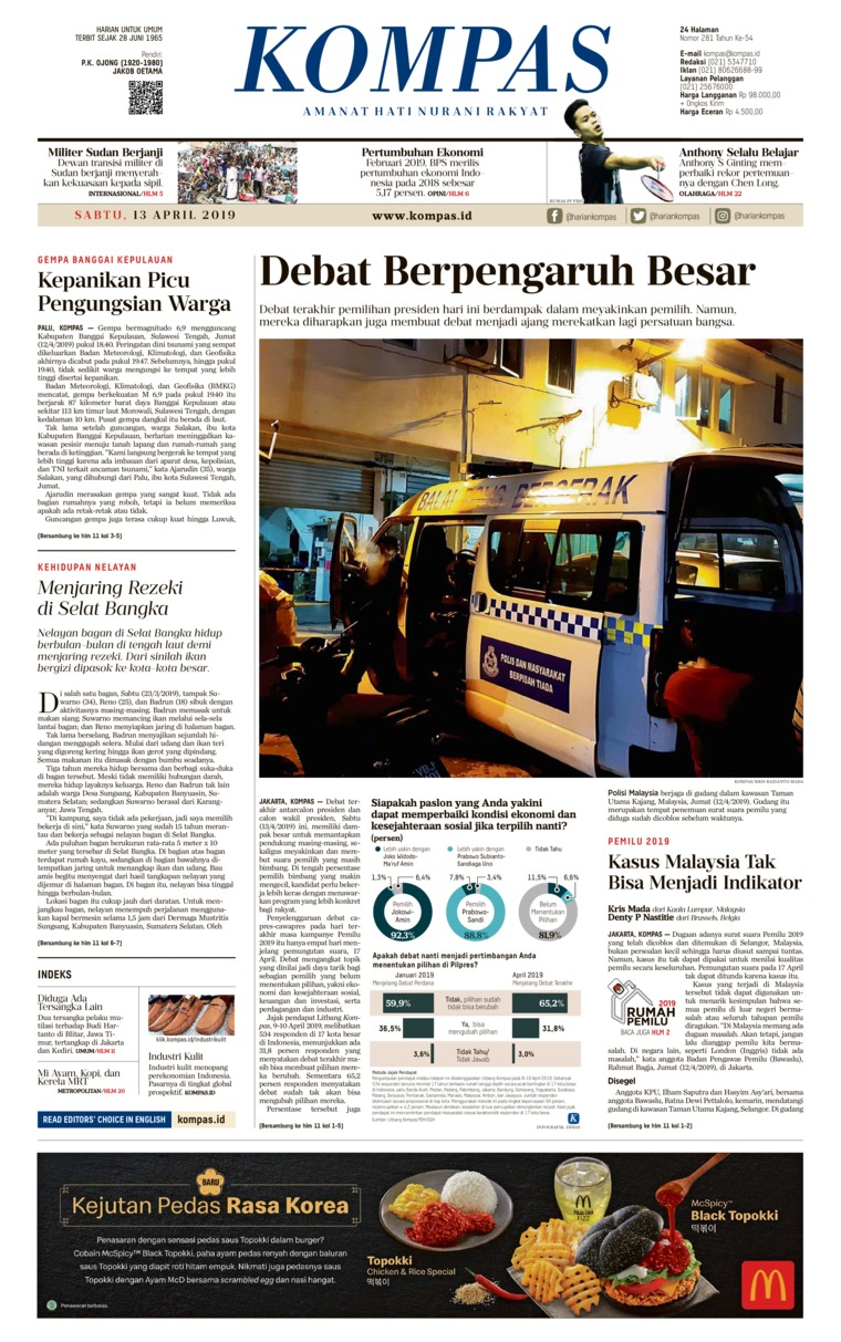 Koran Digital KOMPAS 13 April 2019