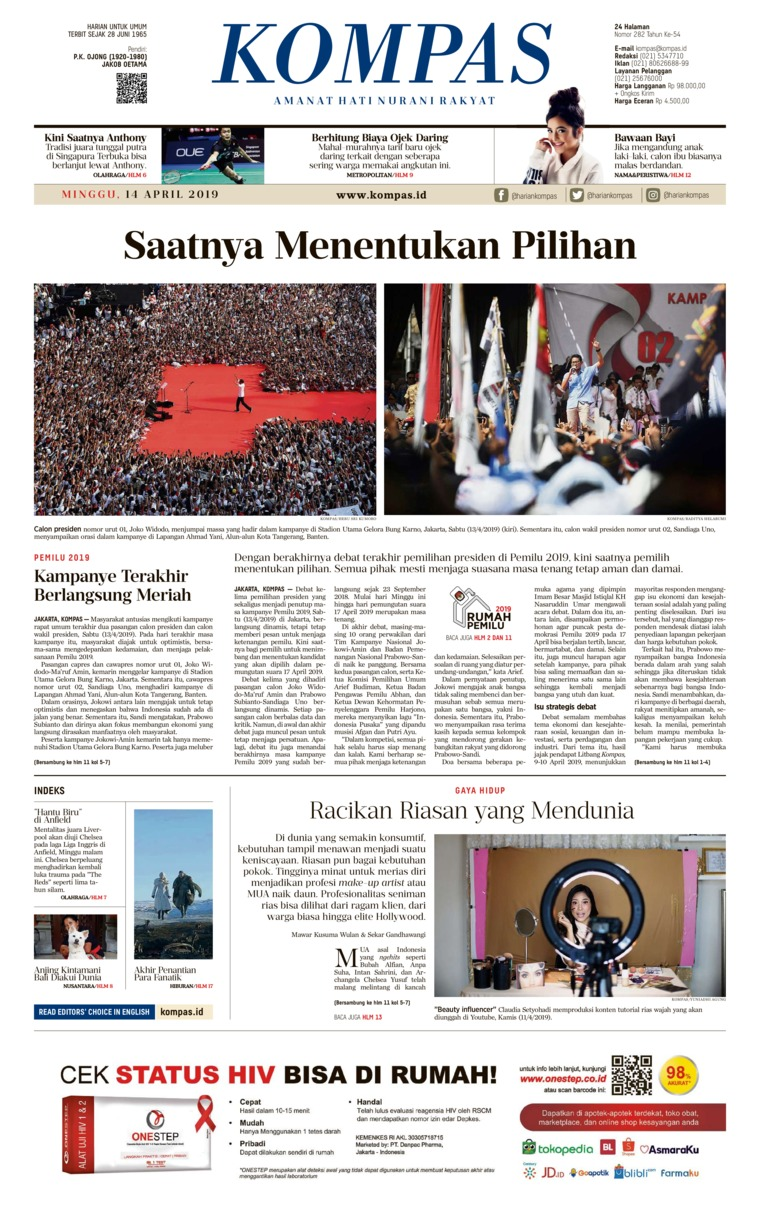 Koran Digital KOMPAS 14 April 2019