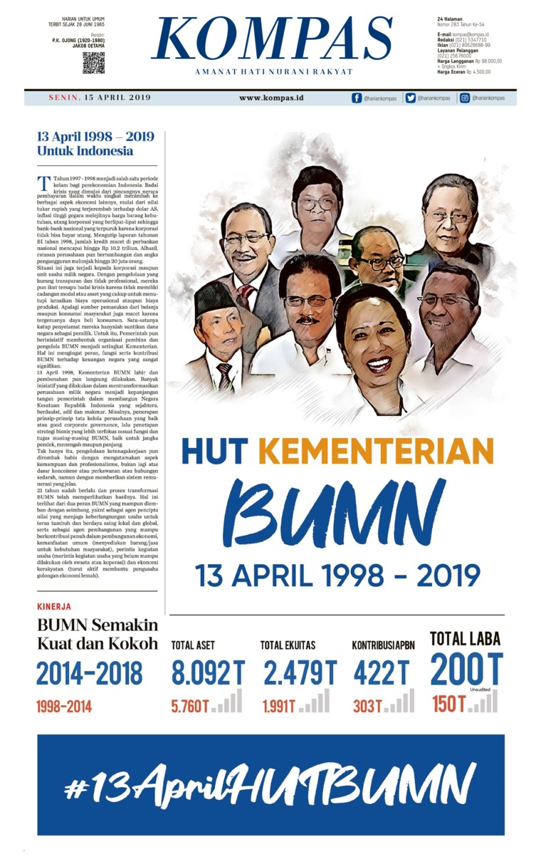 KOMPAS Digital Newspaper 15 April 2019