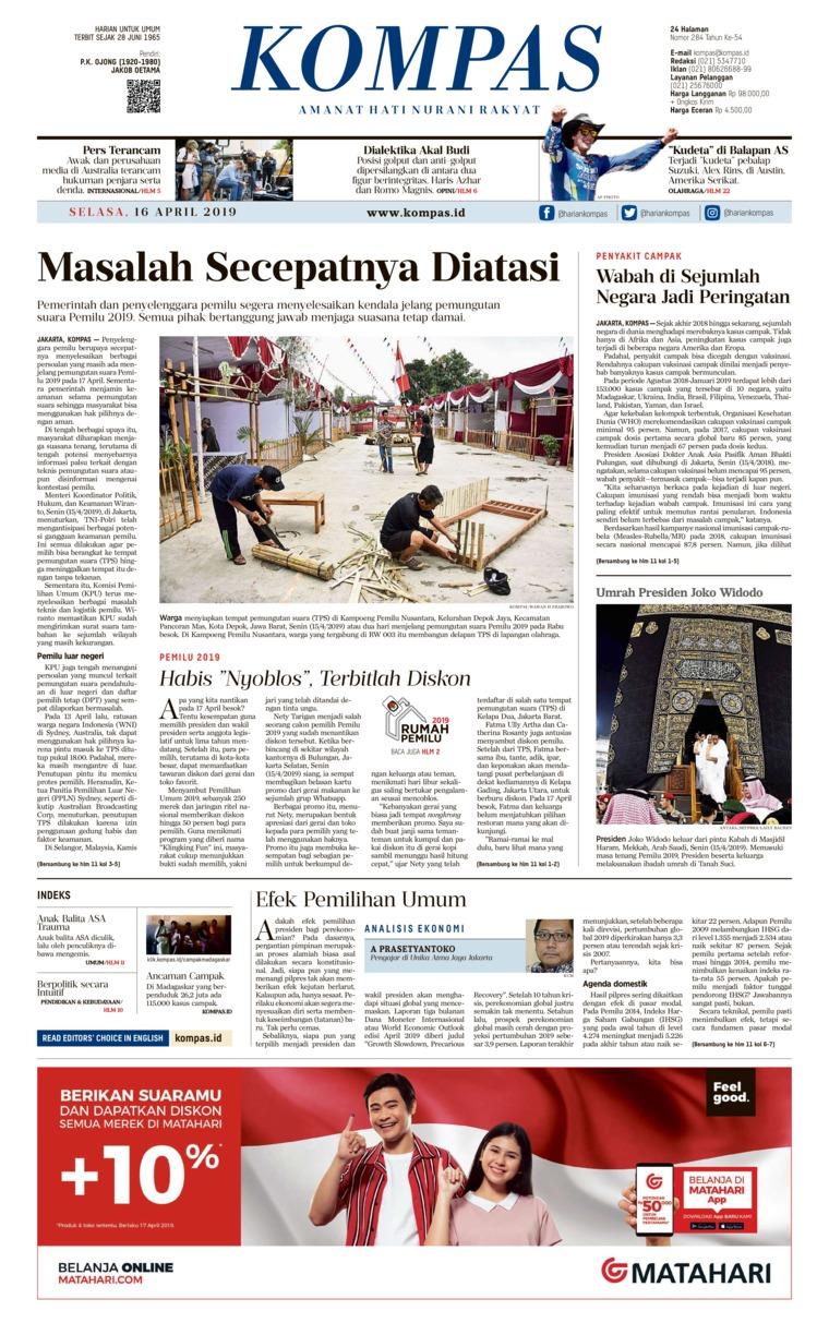 KOMPAS Digital Newspaper 16 April 2019