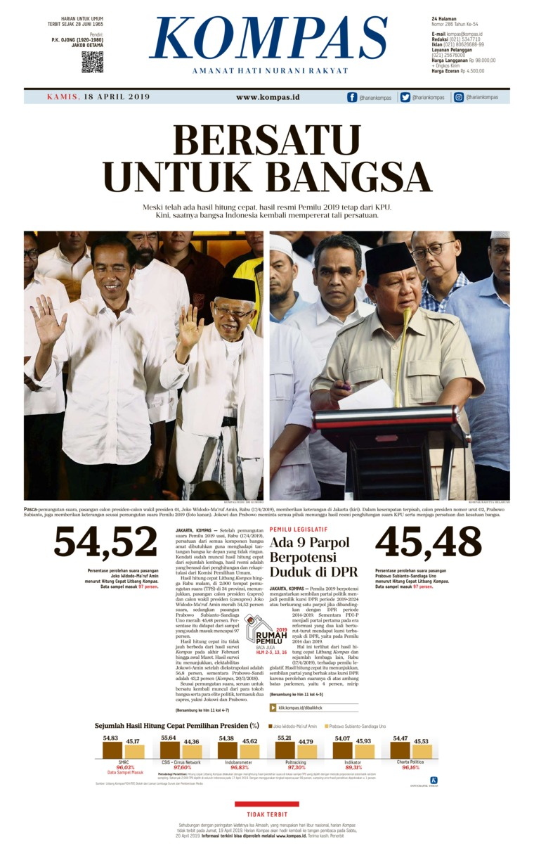 Koran Digital KOMPAS 18 April 2019