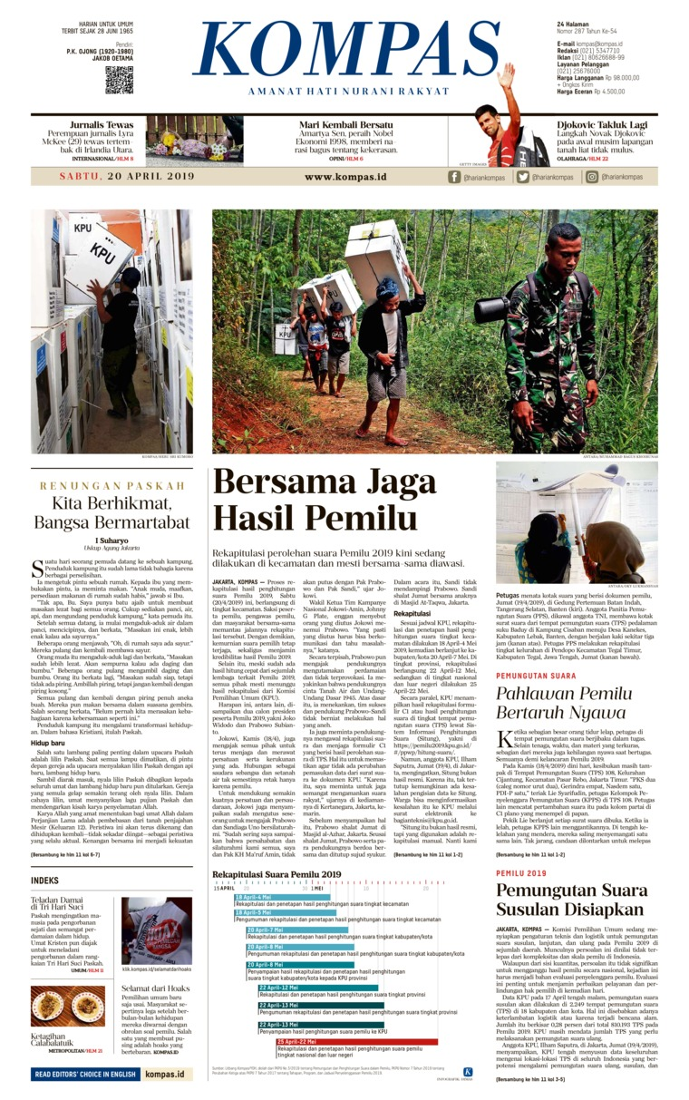 KOMPAS Digital Newspaper 20 April 2019