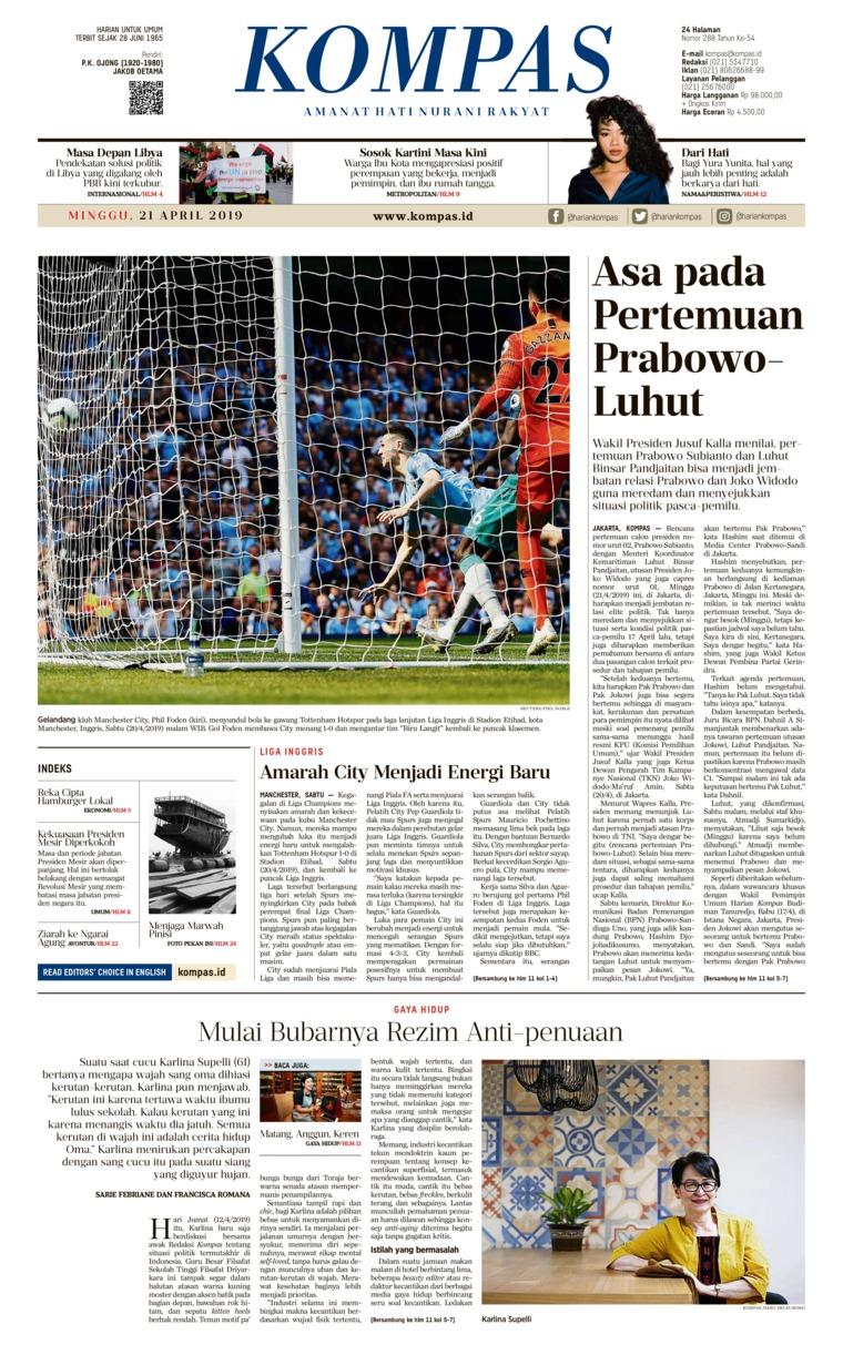Koran Digital KOMPAS 21 April 2019