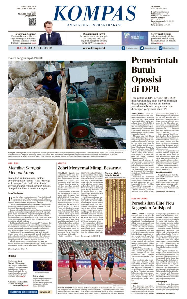 KOMPAS Digital Newspaper 24 April 2019