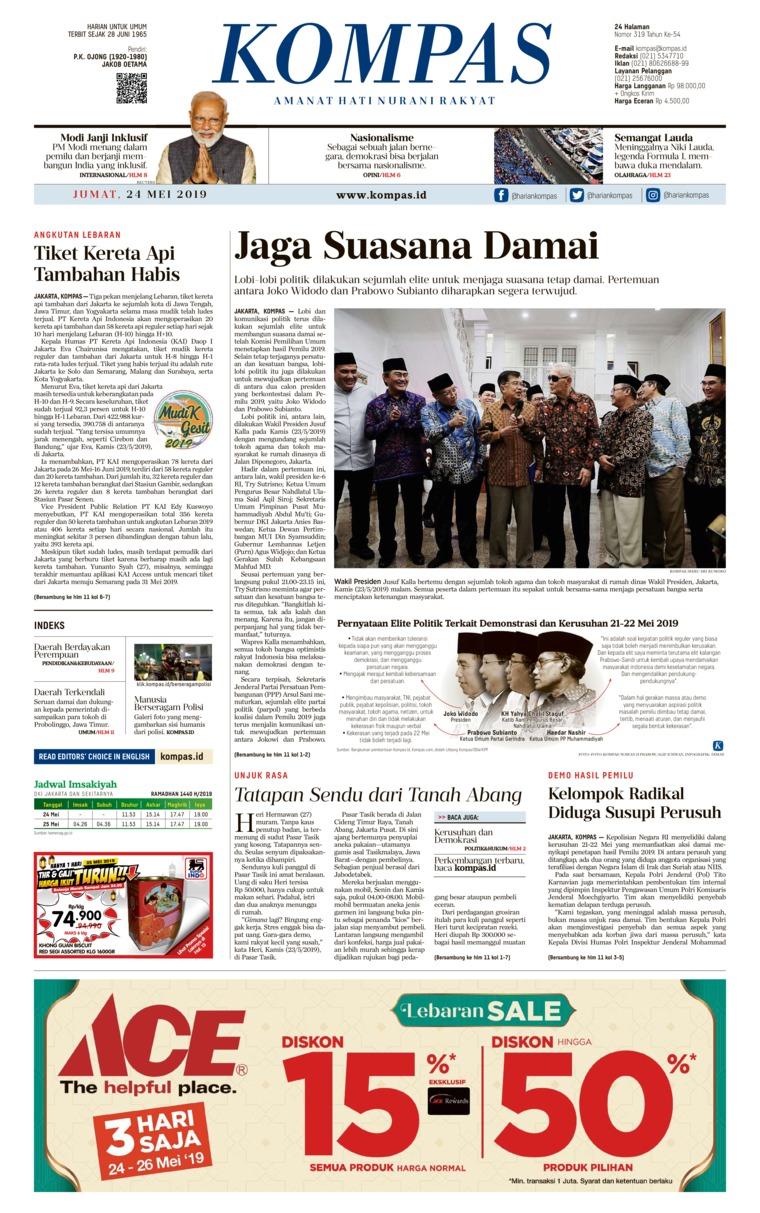 Koran Digital KOMPAS 24 Mei 2019