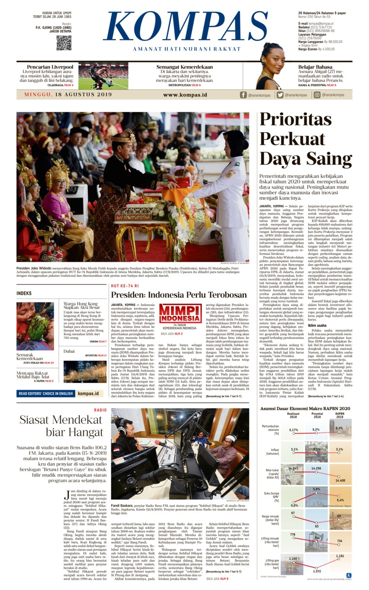 KOMPAS Digital Newspaper 18 August 2019