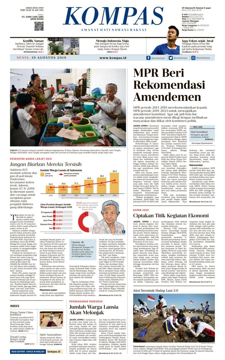 Koran Digital KOMPAS 19 Agustus 2019