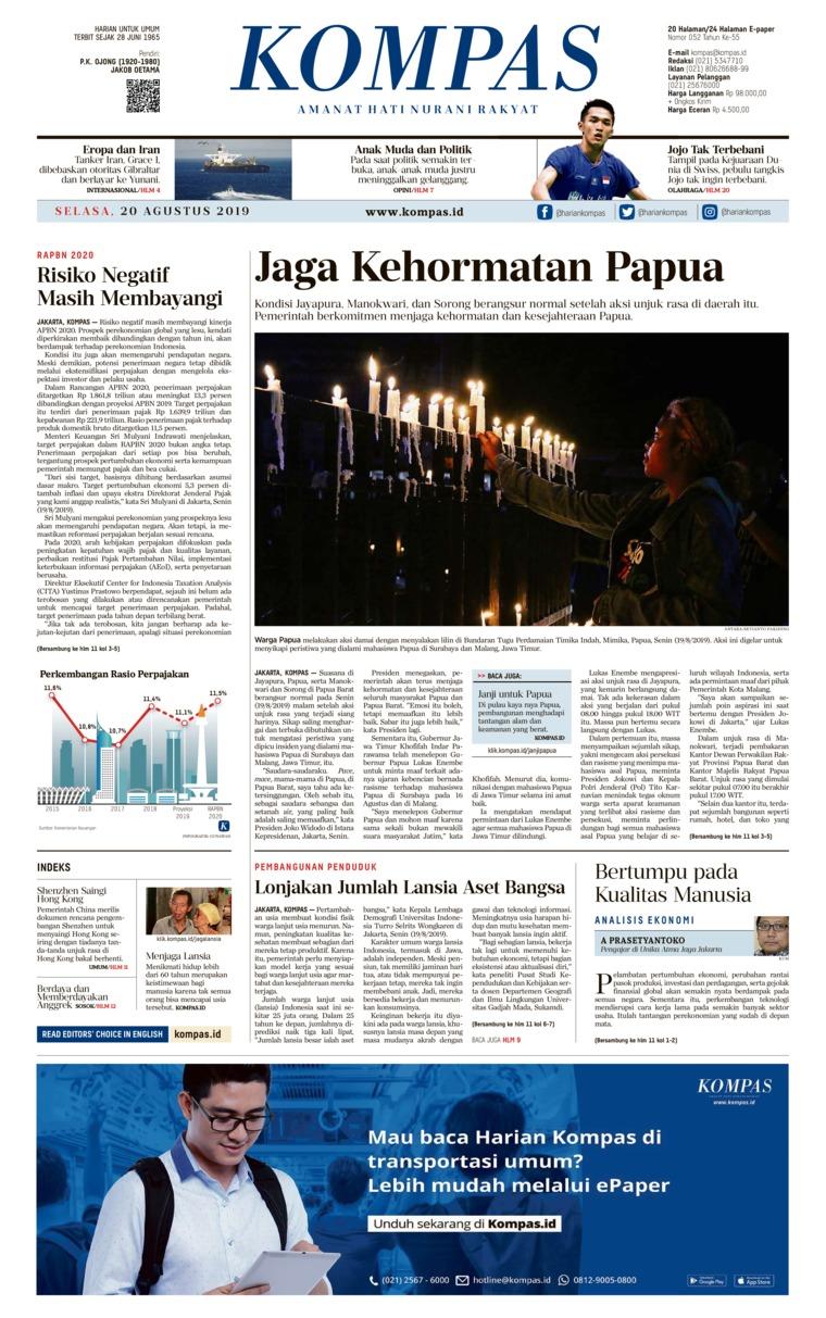 KOMPAS Digital Newspaper 20 August 2019