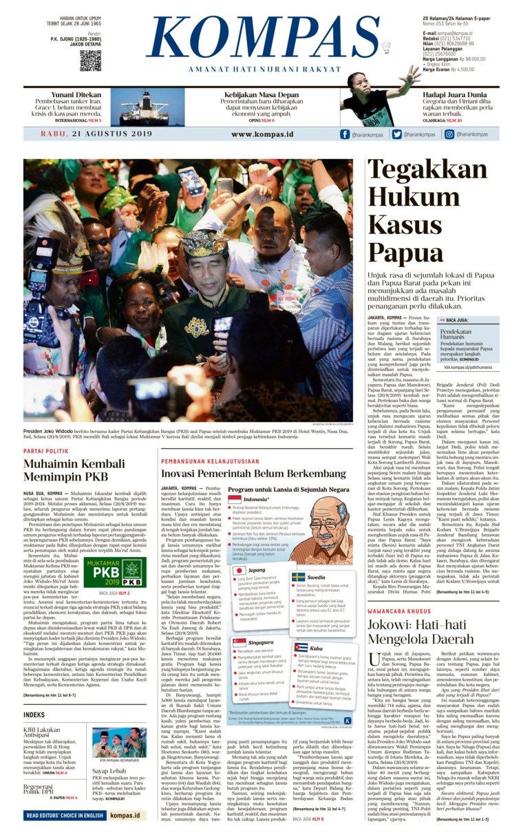 KOMPAS Digital Newspaper 21 August 2019