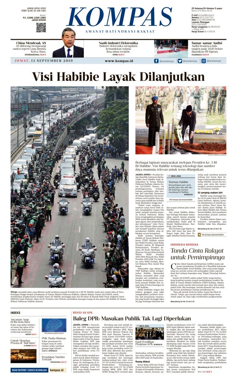 KOMPAS Digital Newspaper 13 September 2019
