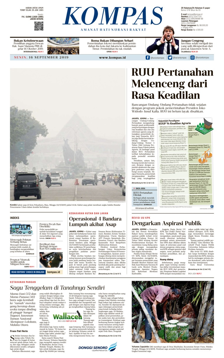 KOMPAS Digital Newspaper 16 September 2019