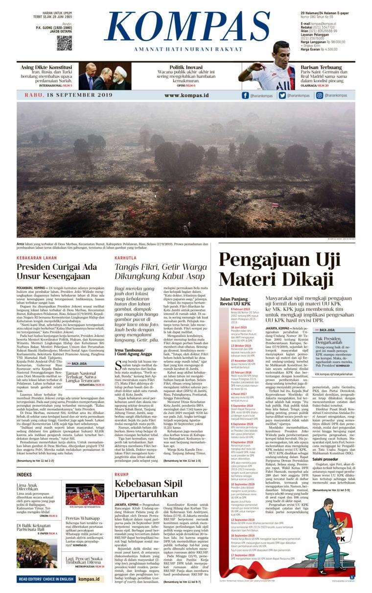 KOMPAS Digital Newspaper 18 September 2019