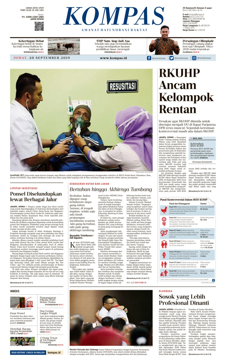 Koran Digital KOMPAS 20 September 2019