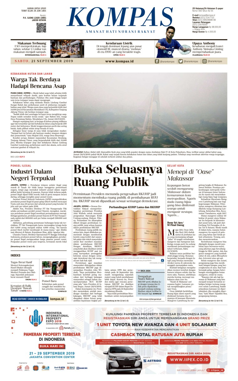 Koran Digital KOMPAS 21 September 2019