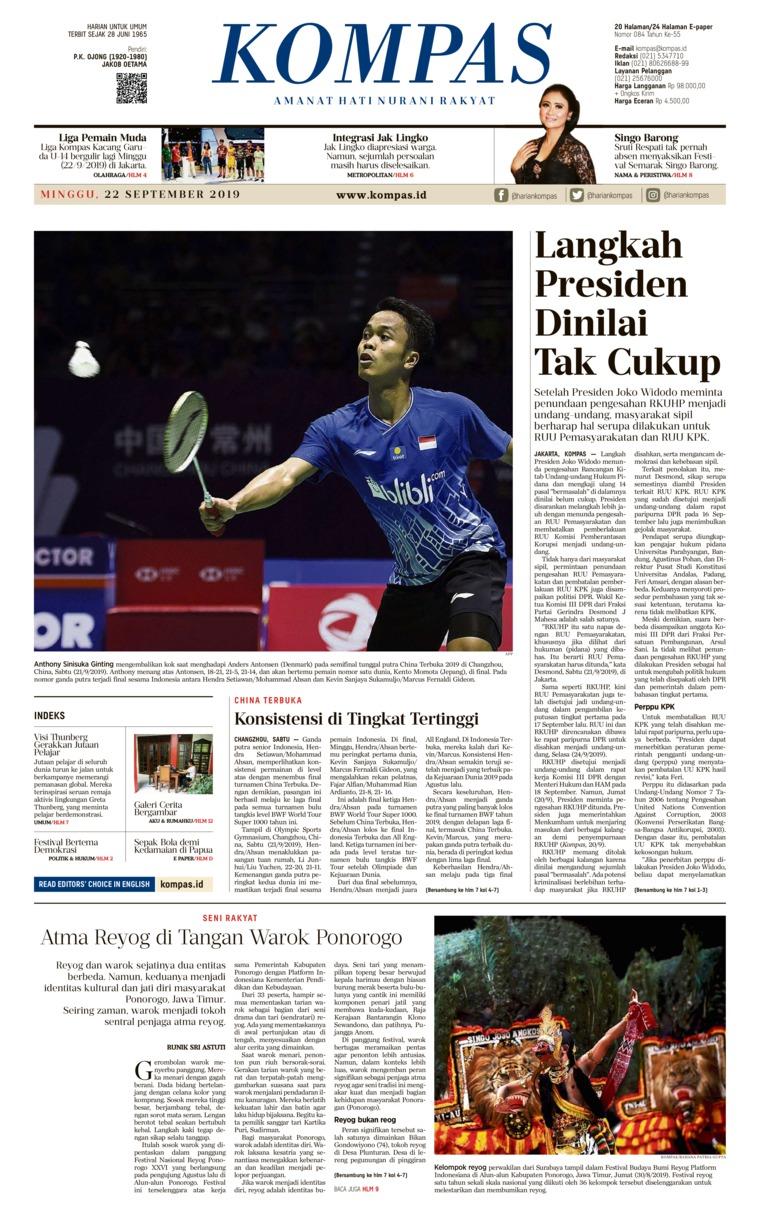 Koran Digital KOMPAS 22 September 2019