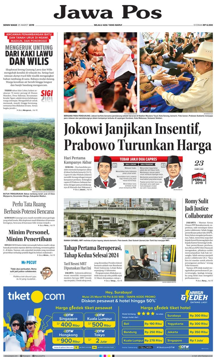 Jawa Pos Digital Newspaper 25 March 2019