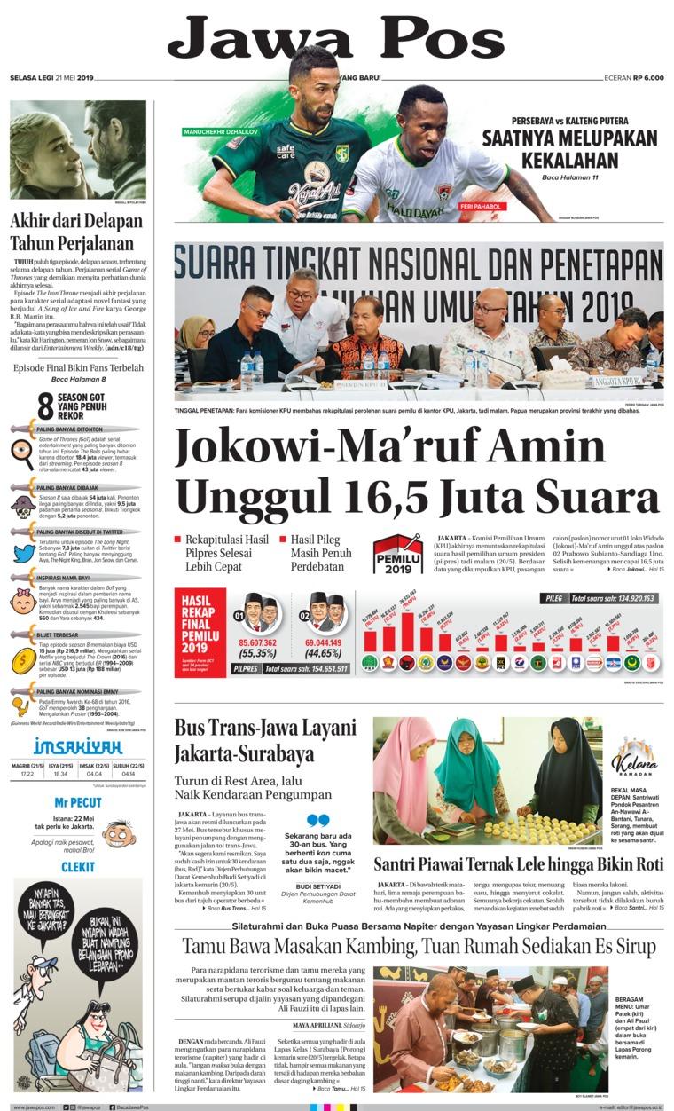 Koran Digital Jawa Pos 21 Mei 2019