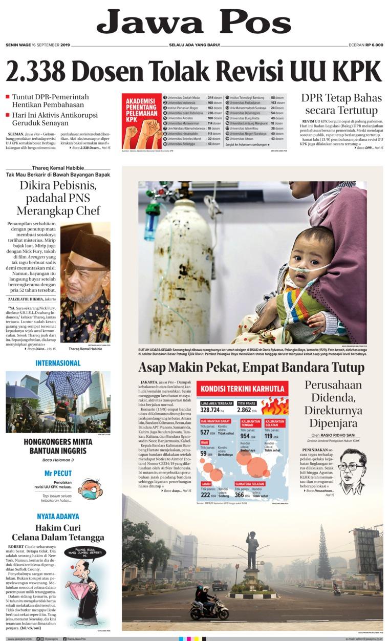 Jawa Pos Digital Newspaper 16 September 2019