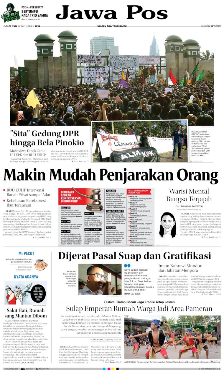 Jawa Pos Digital Newspaper 20 September 2019