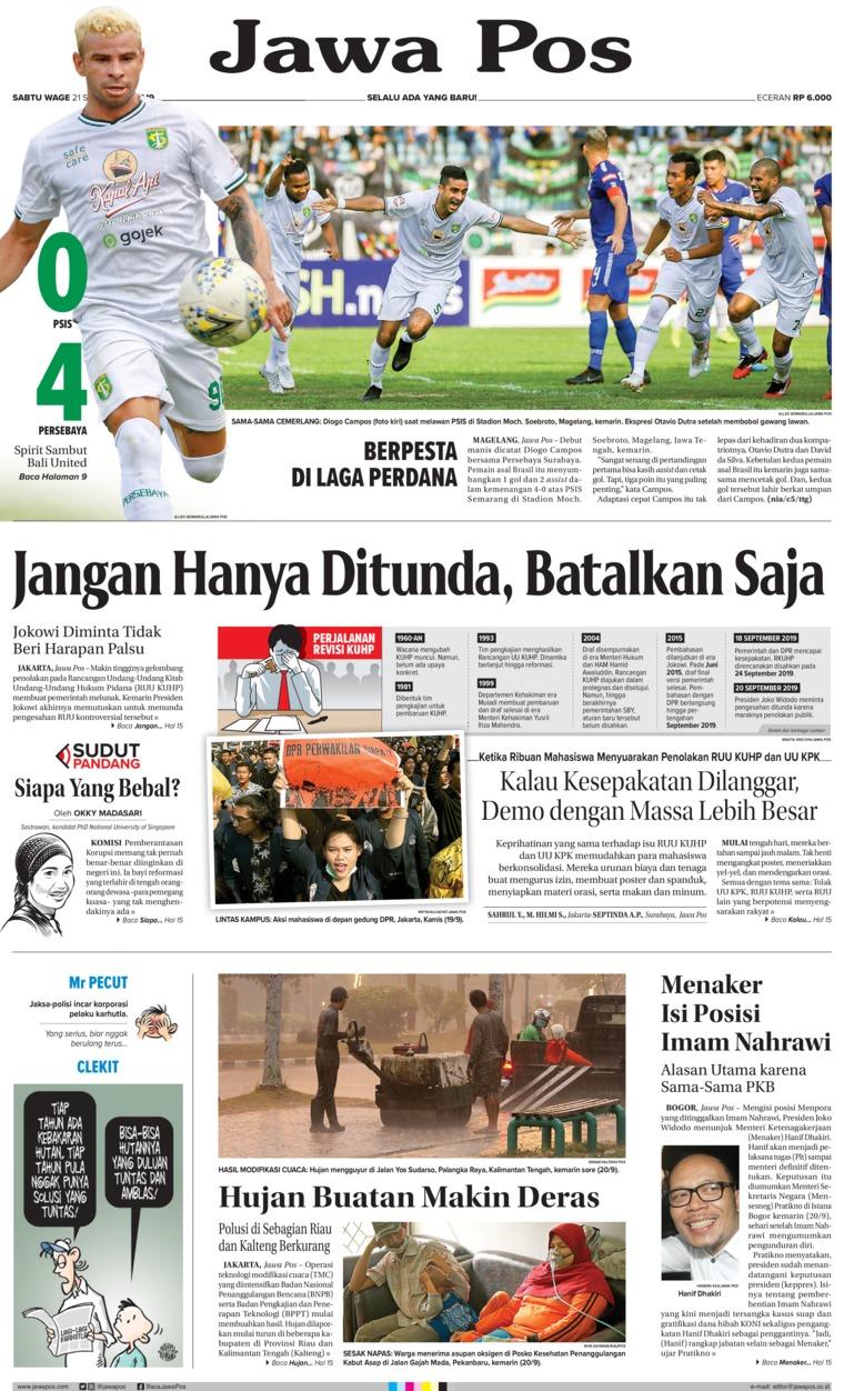 Jawa Pos Digital Newspaper 21 September 2019