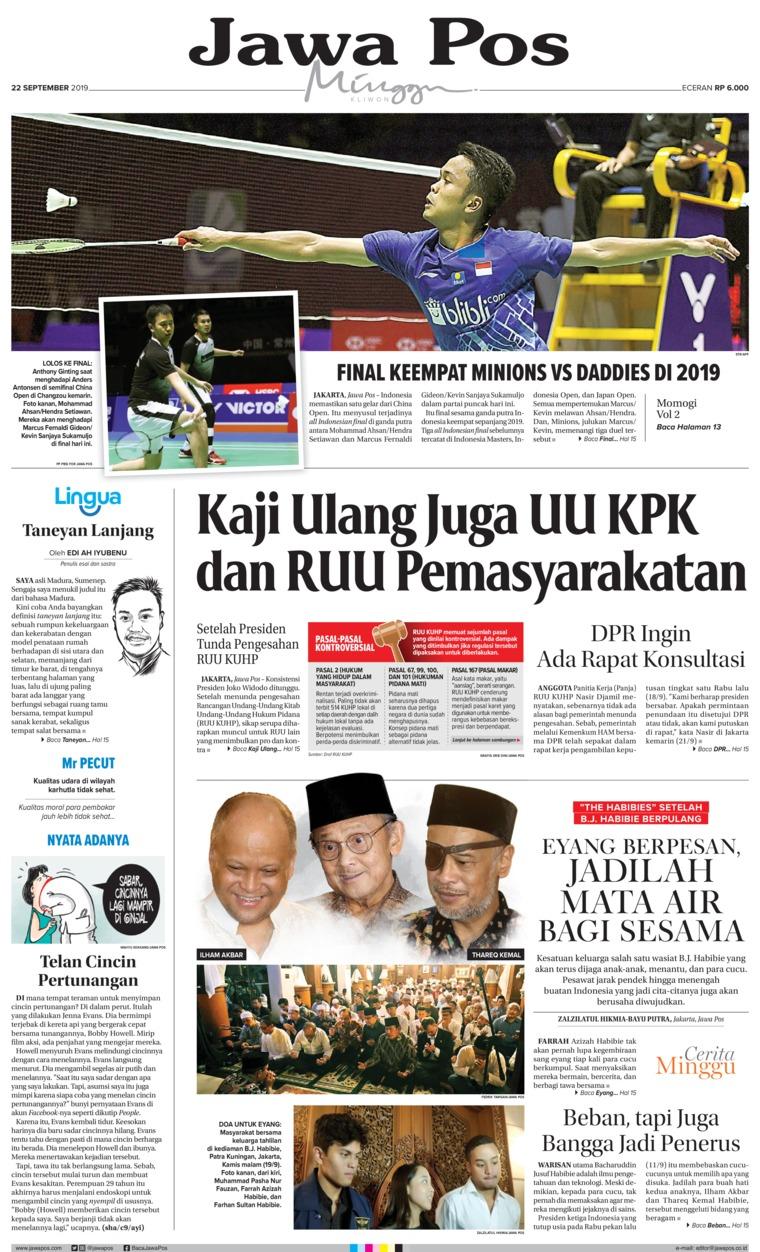 Koran Digital Jawa Pos 22 September 2019