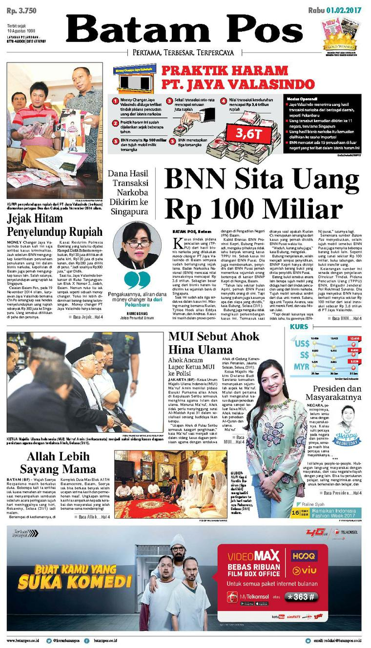 Koran Digital Batam Pos 01 Februari 2017