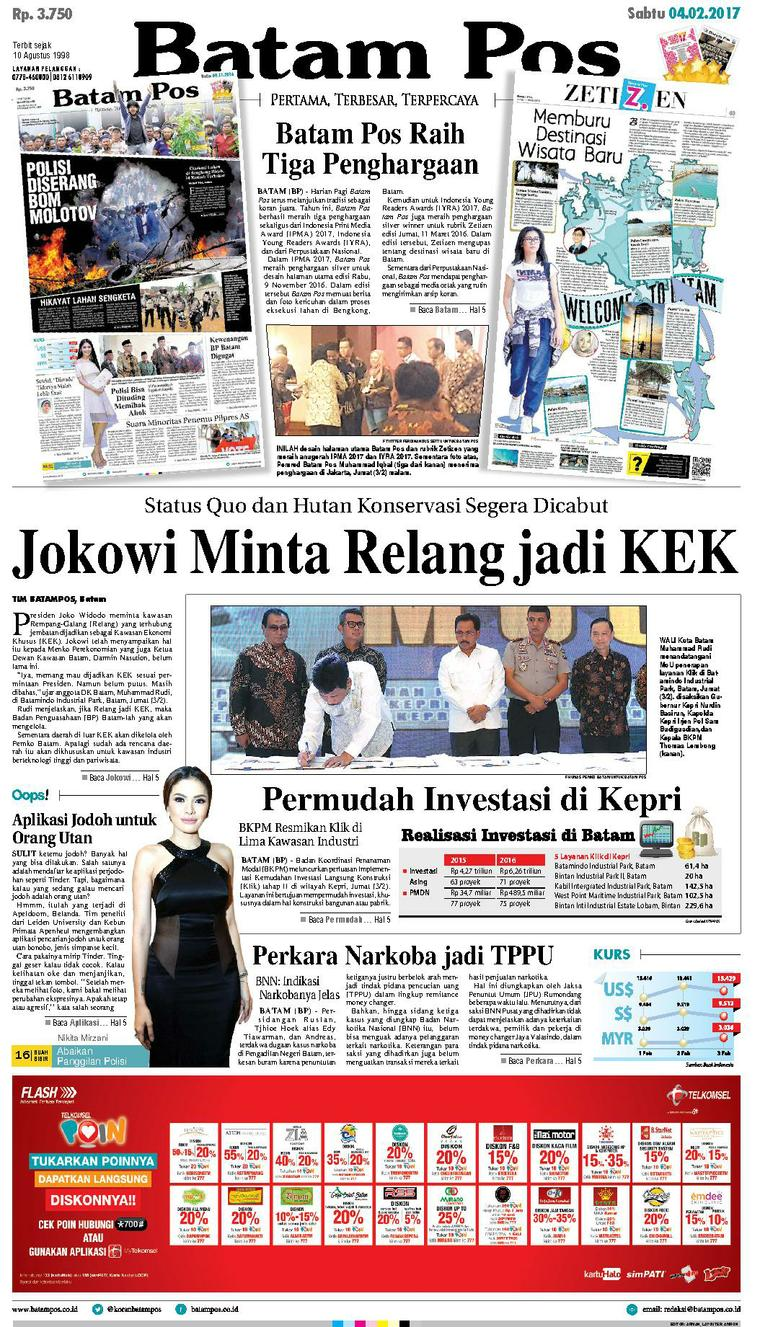 Koran Digital Batam Pos 04 Februari 2017