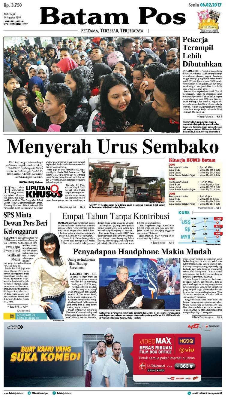 Koran Digital Batam Pos 06 Februari 2017