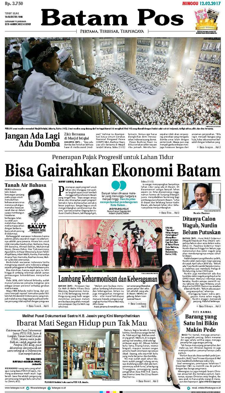 Batam Pos Digital Newspaper 12 February 2017