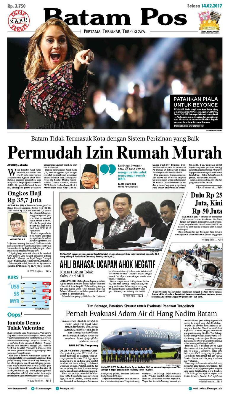 Koran Digital Batam Pos 14 Februari 2017