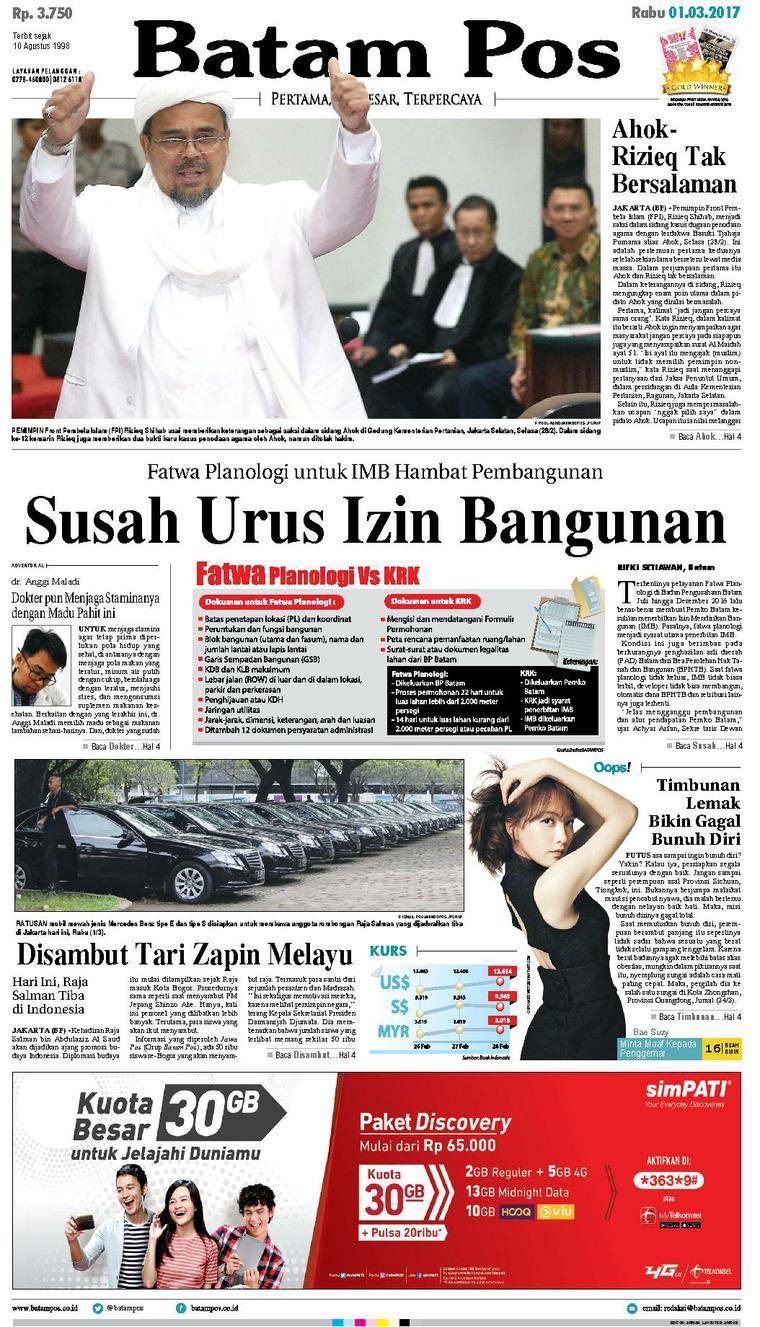 Koran Digital Batam Pos 01 Maret 2017