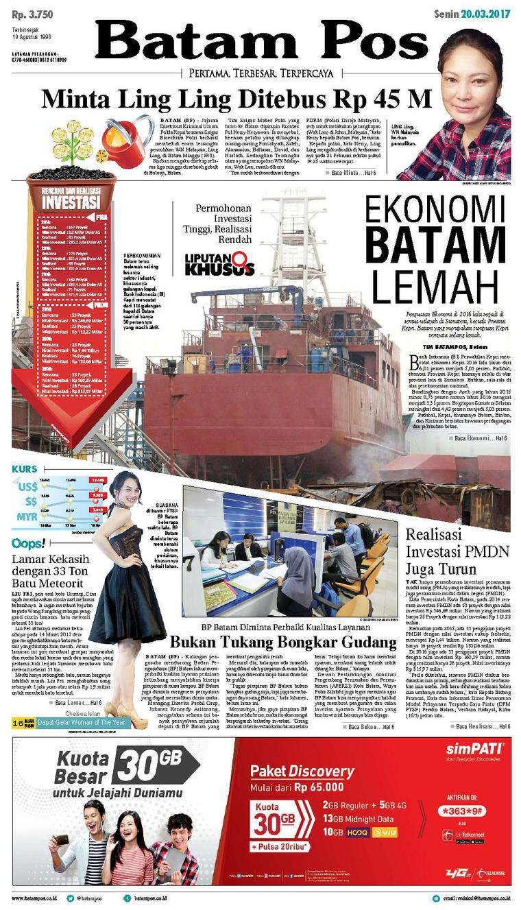 Koran Digital Batam Pos 20 Maret 2017