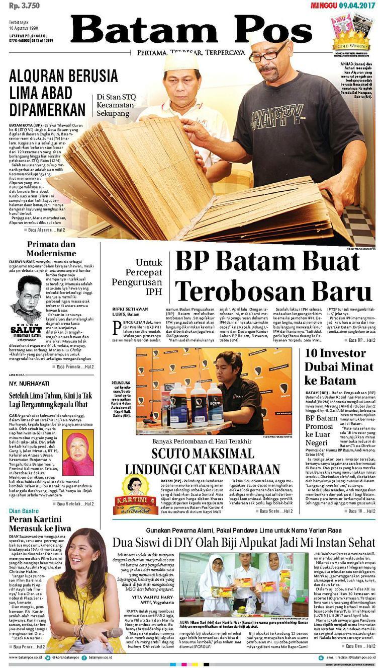 Koran Digital Batam Pos 09 April 2017