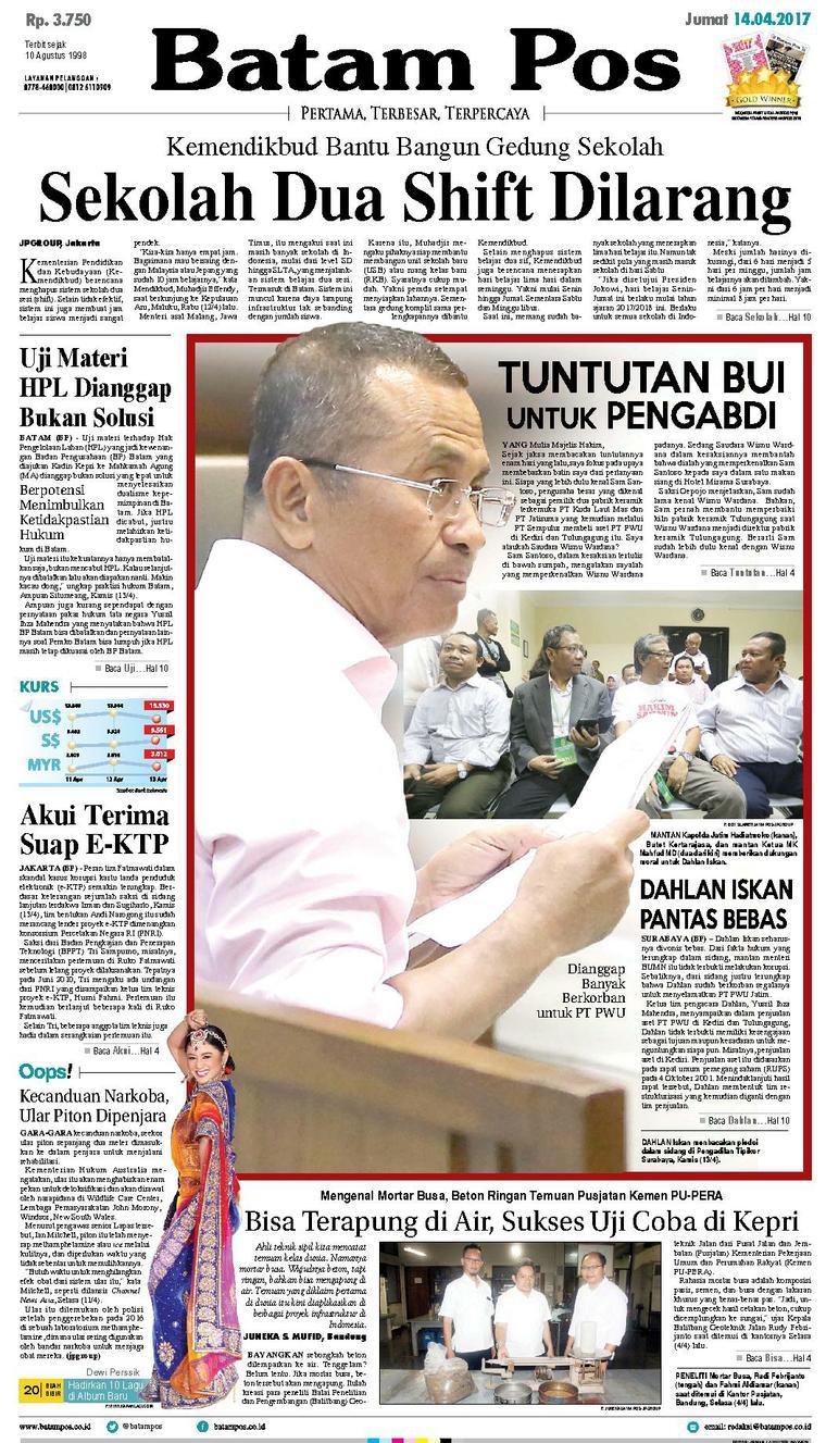 Koran Digital Batam Pos 14 April 2017