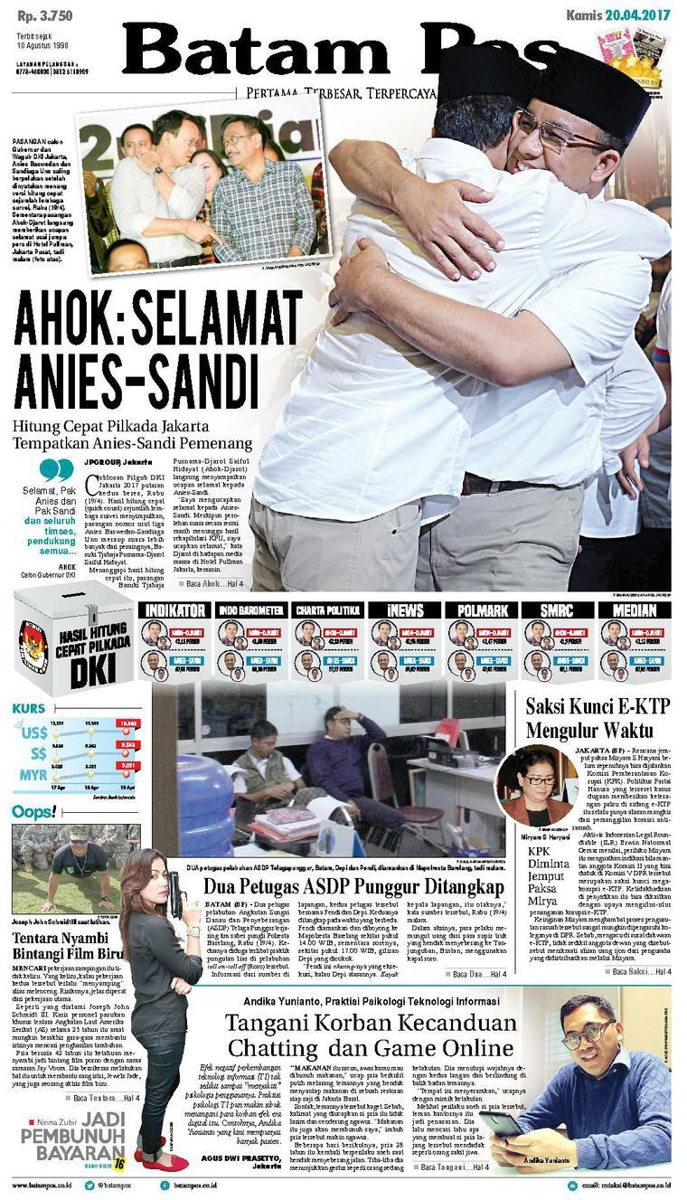 Batam Pos Digital Newspaper 20 April 2017