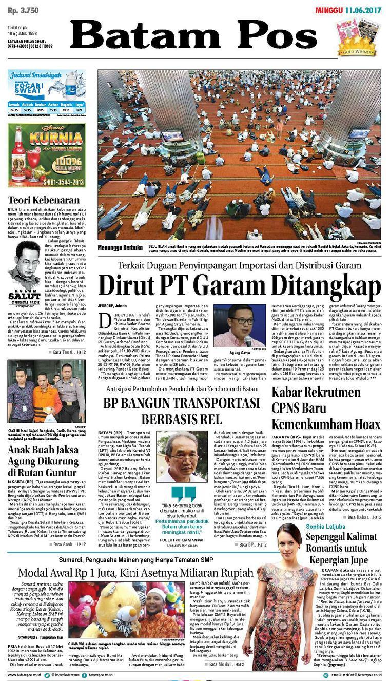 Koran Digital Batam Pos 11 Juni 2017