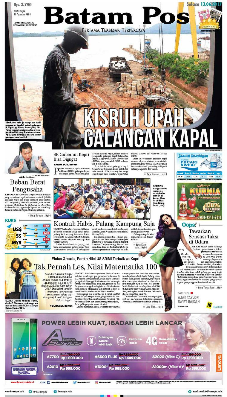 Koran Digital Batam Pos 13 Juni 2017