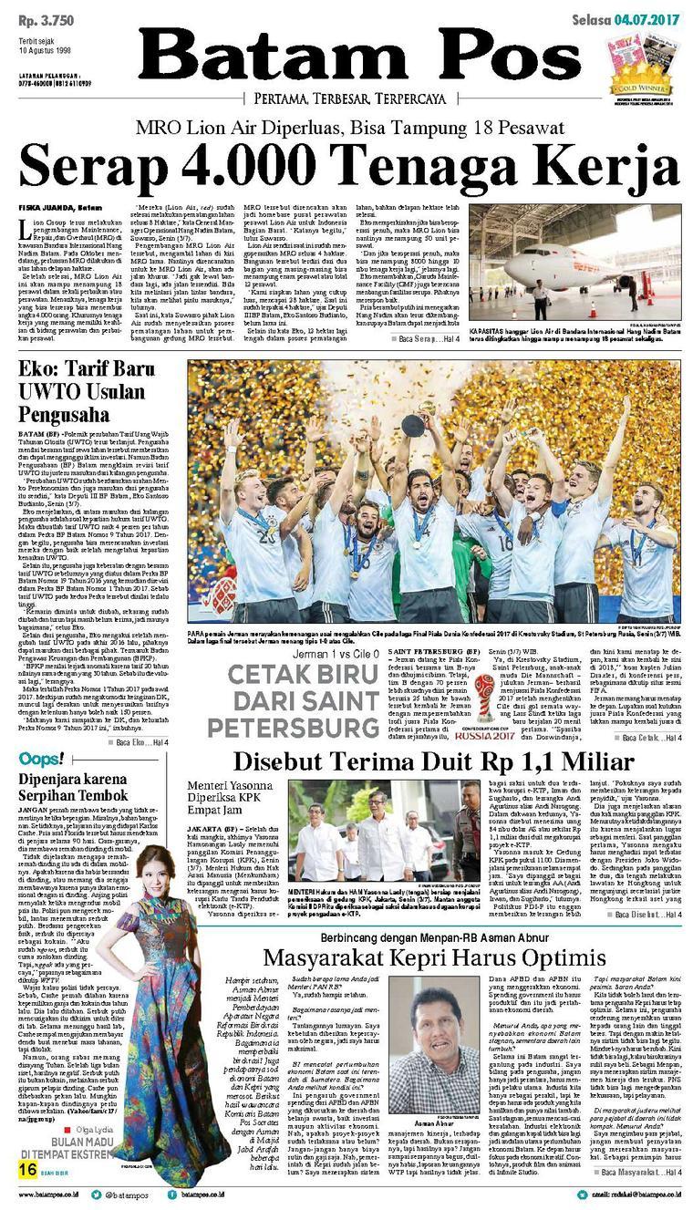 Koran Digital Batam Pos 04 Juli 2017
