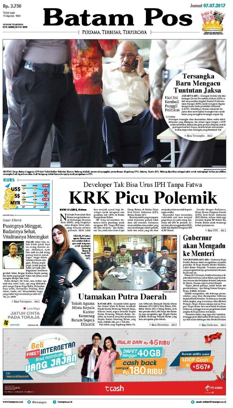 Koran Digital Batam Pos 07 Juli 2017