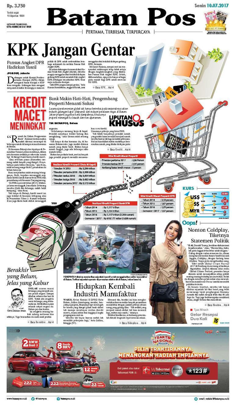 Koran Digital Batam Pos 10 Juli 2017